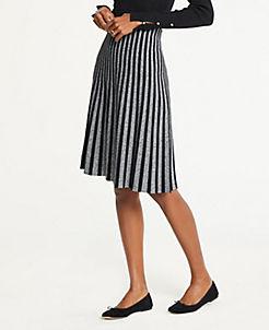 앤테일러 Ann Taylor Pleated Sweater Skirt,Black