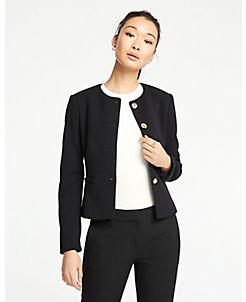 앤테일러 Ann Taylor Double Cloth Peplum Jacket,Black