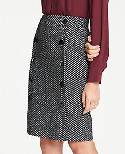 앤테일러 Ann Taylor Chevron Button Knit Pencil Skirt,Black Multi