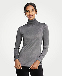 앤테일러 Ann Taylor Metallic Turtleneck,Grey Metallic