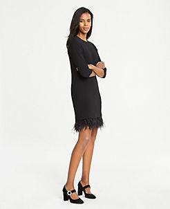 앤테일러 원피스 Ann Taylor Feathered Hem Shift Dress,Black