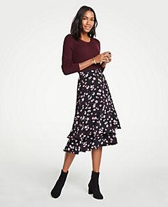 앤테일러 Ann Taylor Romantic Flower Flounce Skirt,Black
