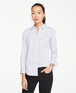 앤테일러 Ann Taylor Striped Perfect Shirt,Royal Azure