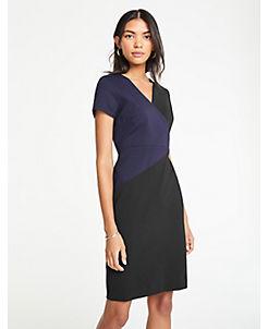 앤테일러 Ann Taylor Colorblock V-Neck Ponte Sheath Dress