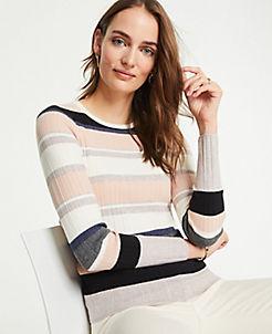 앤테일러 Ann Taylor Striped Ribbed Sweater,Soft Pale Blush