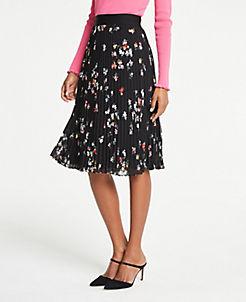 앤테일러 Ann Taylor Floral Pleated Skirt,Black Multi