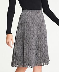 앤테일러 Ann Taylor Herringbone Pleated Skirt,Black Multi