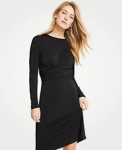앤테일러 랩 드레스 Ann Taylor Wrap Matte Jersey Dress,Black