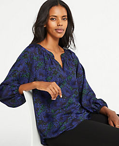 앤테일러 Ann Taylor Floral Full Sleeve Blouse,Amazon Navy