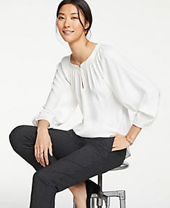 앤테일러 Ann Taylor Full Sleeve Blouse,Winter White