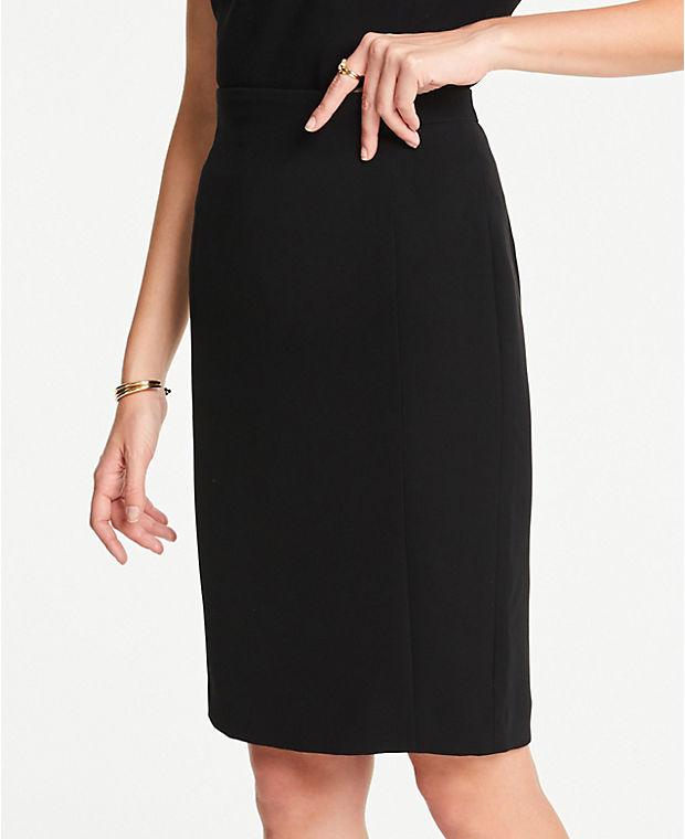 앤테일러 Ann Taylor Pencil Skirt in Doubleweave,Black