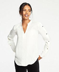 앤테일러 Ann Taylor Button Sleeve V-Neck Blouse,Winter White