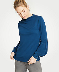 앤테일러 Ann Taylor Lantern Sleeve Mock Neck Top