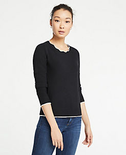앤테일러 Ann Taylor Scalloped Tipped Sweater