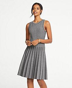앤테일러 원피스 Ann Taylor Jacquard Pleated Flare Sweater Dress,Heather Silver Lake Grey