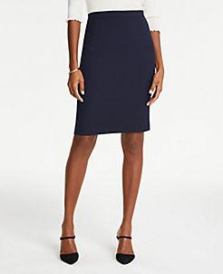 앤테일러 Ann Taylor The Petite Pencil Skirt in Pindot,Navy Multi
