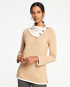 앤테일러 Ann Taylor Button Collar Tunic Sweater,Dark Camel Heather