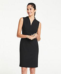 앤테일러 Ann Taylor Seasonless Stretch Belted Sheath Dress,Black