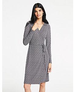앤테일러 Ann Taylor Herringbone Matte Jersey Wrap Dress,Black