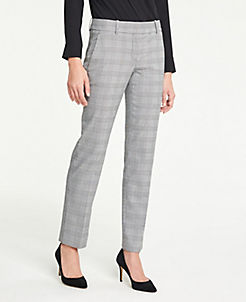 앤테일러 Ann Taylor The Straight Leg Pant In Glen Plaid - Curvy Fit,Black / White