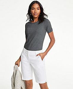 앤테일러 Ann Taylor Curvy Boardwalk Shorts,White