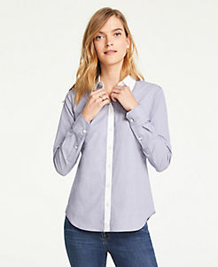 앤테일러 Ann Taylor Petite Contrast Trim End On End Cotton Perfect Shirt,Royal Azure