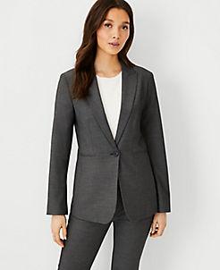 앤테일러 블레이저 Ann Taylor The Long 1-Button Blazer in Bi-Stretch,Dark Grey
