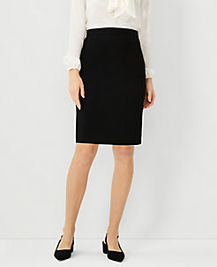 앤테일러 펜슬 스커트 Ann Taylor Petite Bi-Stretch Seamed Pencil Skirt,Black
