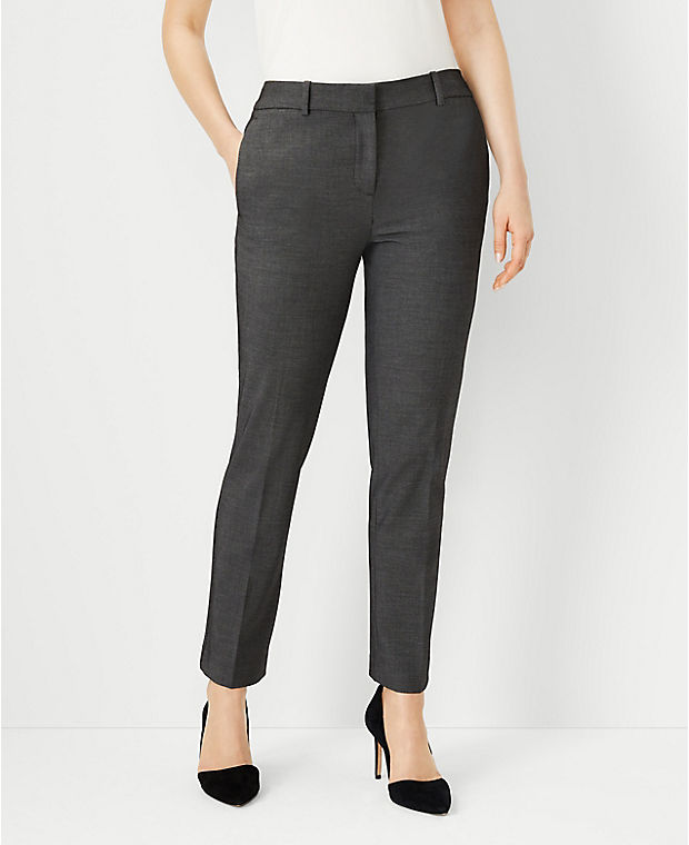 앤테일러 Ann Taylor The Ankle Pant in Bi-Stretch - Curvy Fit,Dark Grey
