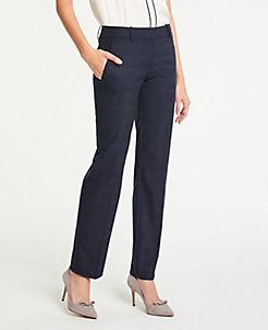 앤테일러 Ann Taylor The Straight Leg Pant In Windowpane - Curvy Fit,Blue Plaid