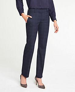 앤테일러 Ann Taylor The Straight Leg Pant In Windowpane - Classic Fit,Blue Plaid