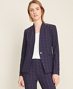앤테일러 Ann Taylor The Cutaway Blazer in Navy Windowpane Bi-Stretch,Blue Plaid