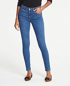 앤테일러 Ann Taylor Curvy Performance Stretch Skinny Jeans In Classic Blue Wash,Classic Blue Wash