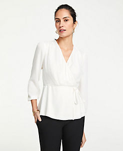 앤테일러 Ann Taylor Petite Textured Wrap Top,Winter White