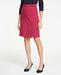 앤테일러 Ann Taylor Curvy Button Tab Seamed Pencil Skirt,Pure Fuchsia