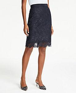 앤테일러 Ann Taylor Curvy Lace Pencil Skirt,Night Sky