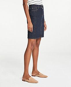 앤테일러 Ann Taylor Petite Belted Denim Skirt,Evening Sea Wash