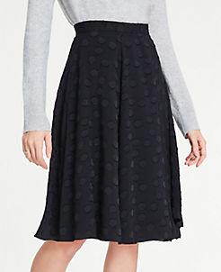 앤테일러 Ann Taylor Petite Clip Dot Chiffon Full Skirt,Black