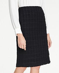 앤테일러 Ann Taylor Petite Tweed Faux Wrap Pencil Skirt,Black