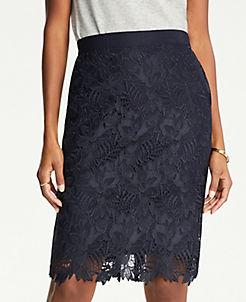 앤테일러 Ann Taylor Petite Lace Pencil Skirt,Night Sky