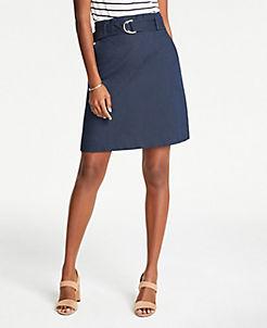 앤테일러 Ann Taylor Petite Tie Waist A-Line Skirt,Ink wash