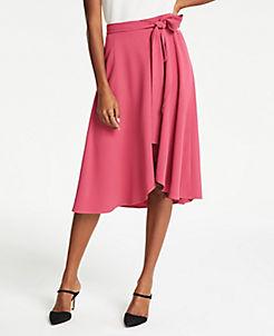 앤테일러 Ann Taylor Petite Tie Waist Wrap Skirt,Wild Strawberry