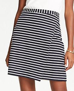 앤테일러 Ann Taylor Petite Striped Ponte Wrap A-Line Skirt,Atlantic Navy