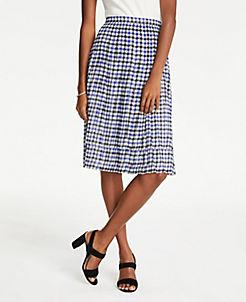 앤테일러 Ann Taylor Petite Houndstooth Pleated Skirt,Black Multi