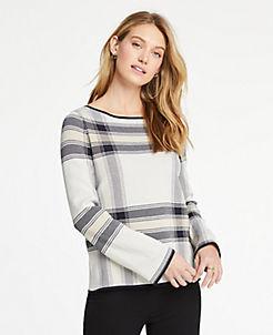 앤테일러 Ann Taylor Plaid Jacquard Bell Sleeve Sweater,Biscuit Beige