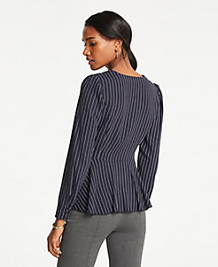 앤테일러 Ann Taylor Petite Striped V-Neck Blouse,Night Sky