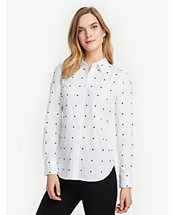 앤테일러 Ann Taylor Petite Embroidered Dot Perfect Shirt,White
