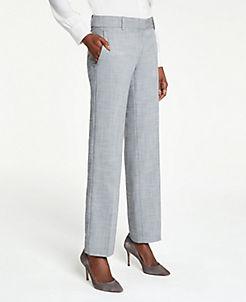 앤테일러 Ann Taylor The Straight Leg Pant In Crosshatch,Grey Multi