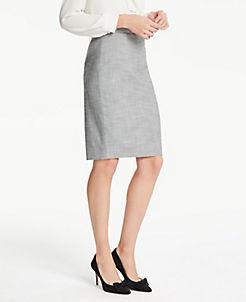 앤테일러 Ann Taylor Petite Crosshatch Pencil Skirt,Grey Multi