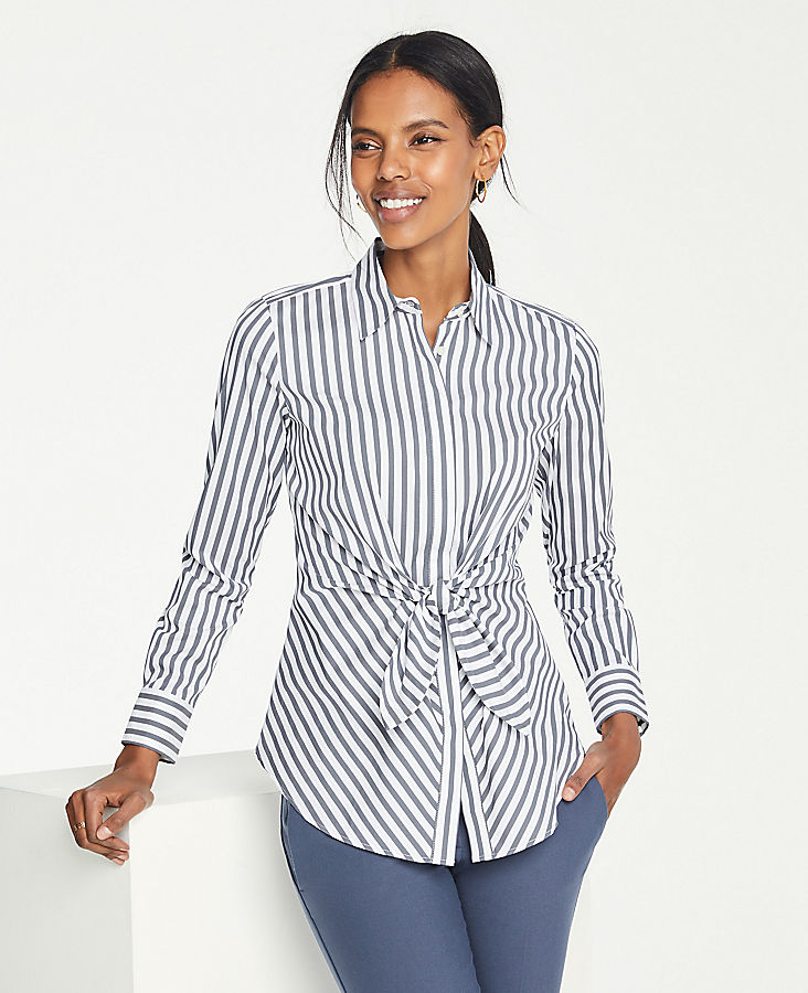 Anntaylor Stripe Tie Waist Perfect Shirt